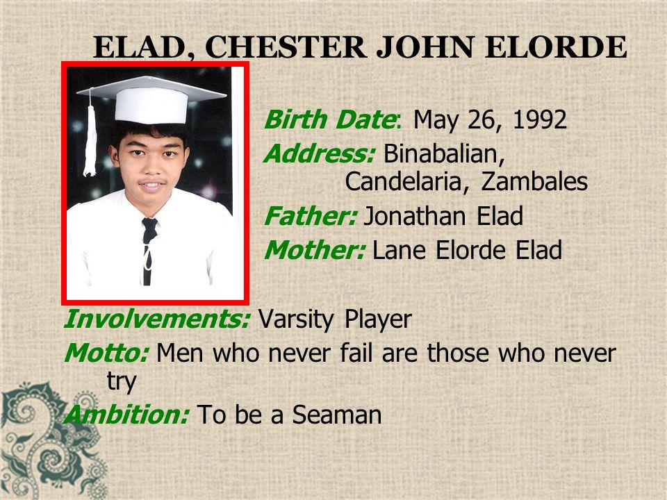 ELAD, CHESTER JOHN ELORDE