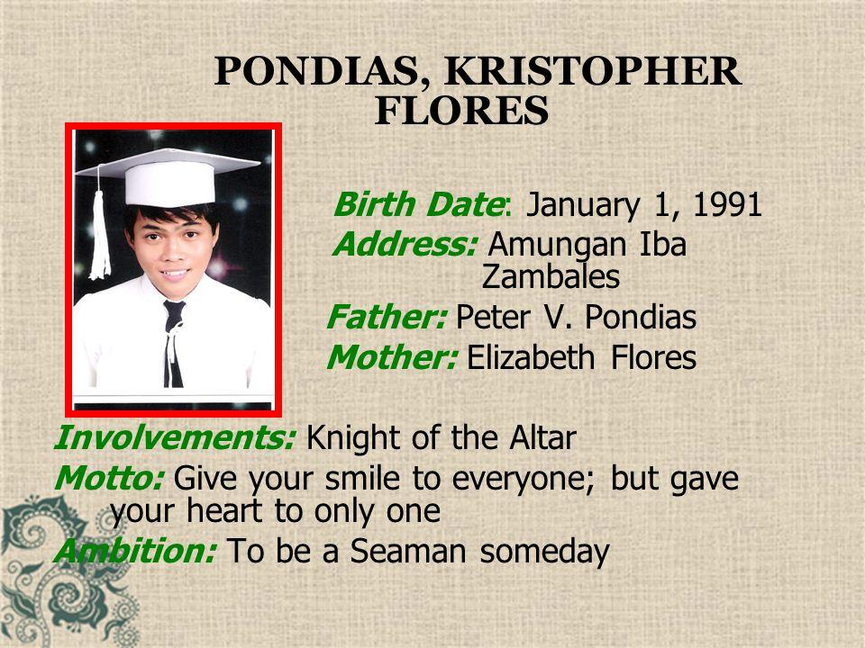 PONDIAS, KRISTOPHER FLORES