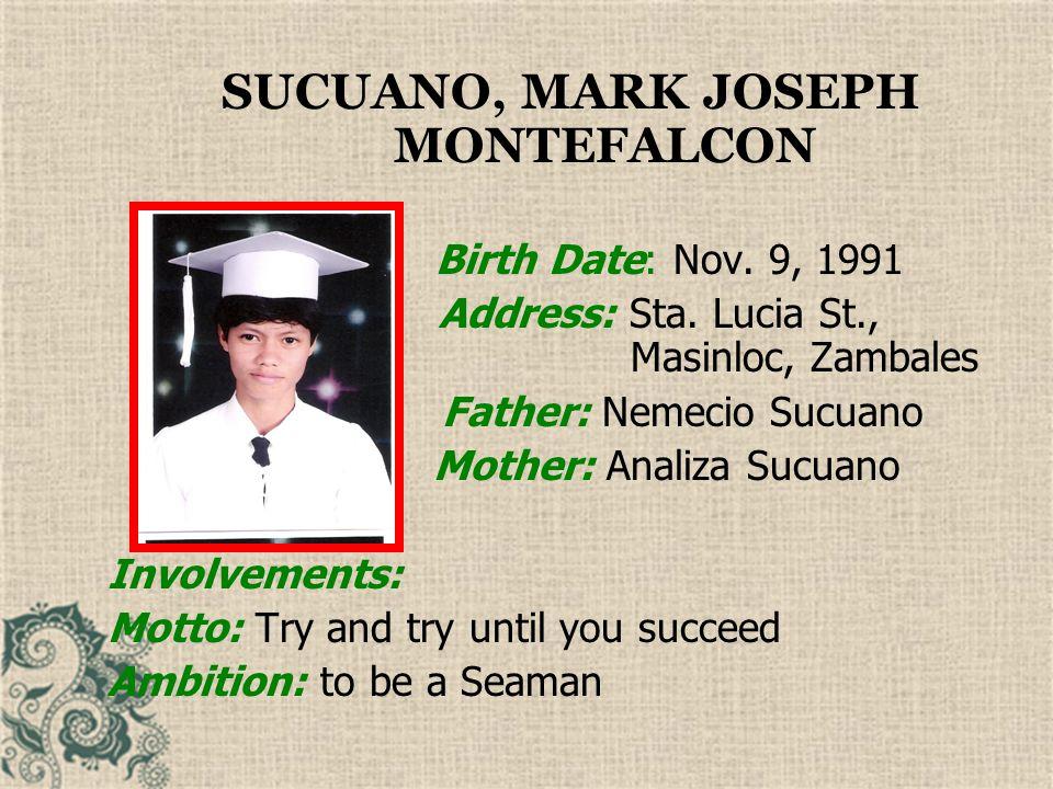 SUCUANO, MARK JOSEPH MONTEFALCON