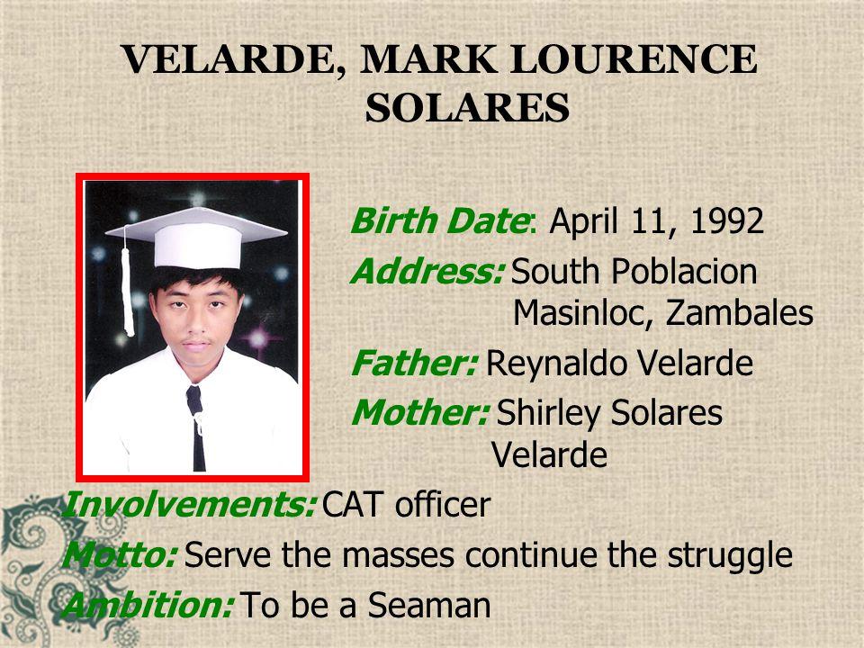 VELARDE, MARK LOURENCE SOLARES