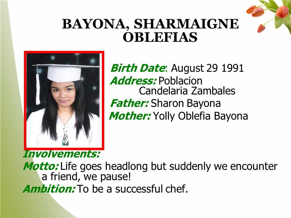 BAYONA, SHARMAIGNE OBLEFIAS