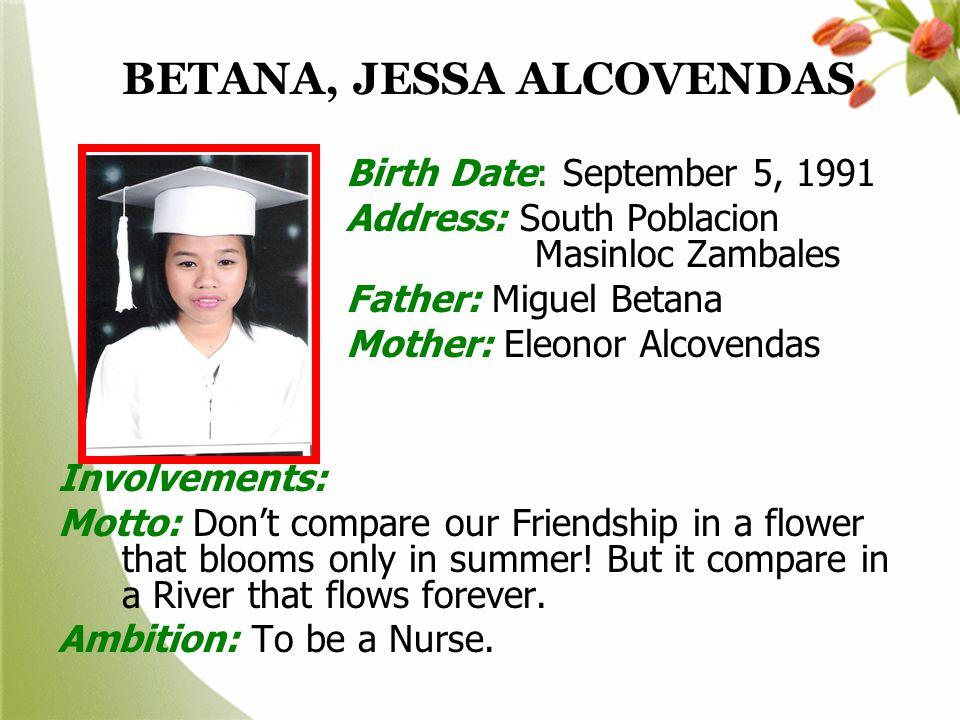 BETANA, JESSA ALCOVENDAS