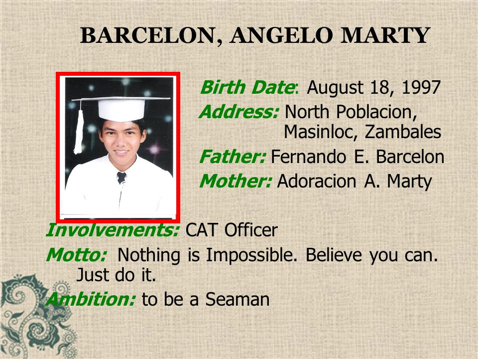 BARCELON, ANGELO MARTY Birth Date: August 18, 1997