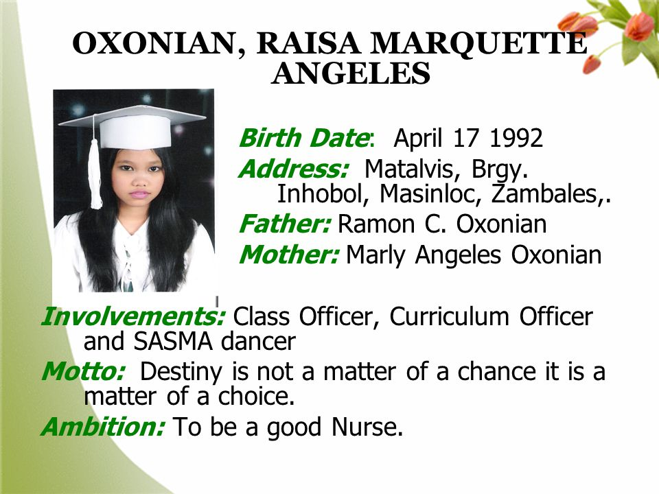 OXONIAN, RAISA MARQUETTE ANGELES