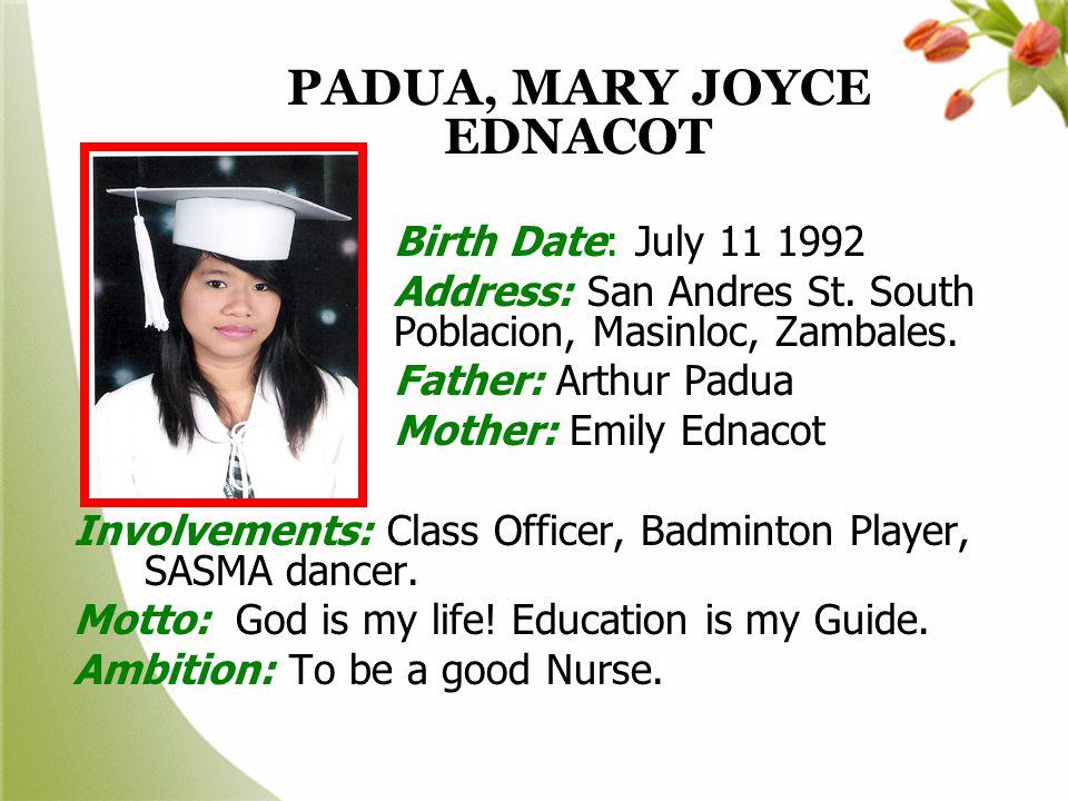 PADUA, MARY JOYCE EDNACOT