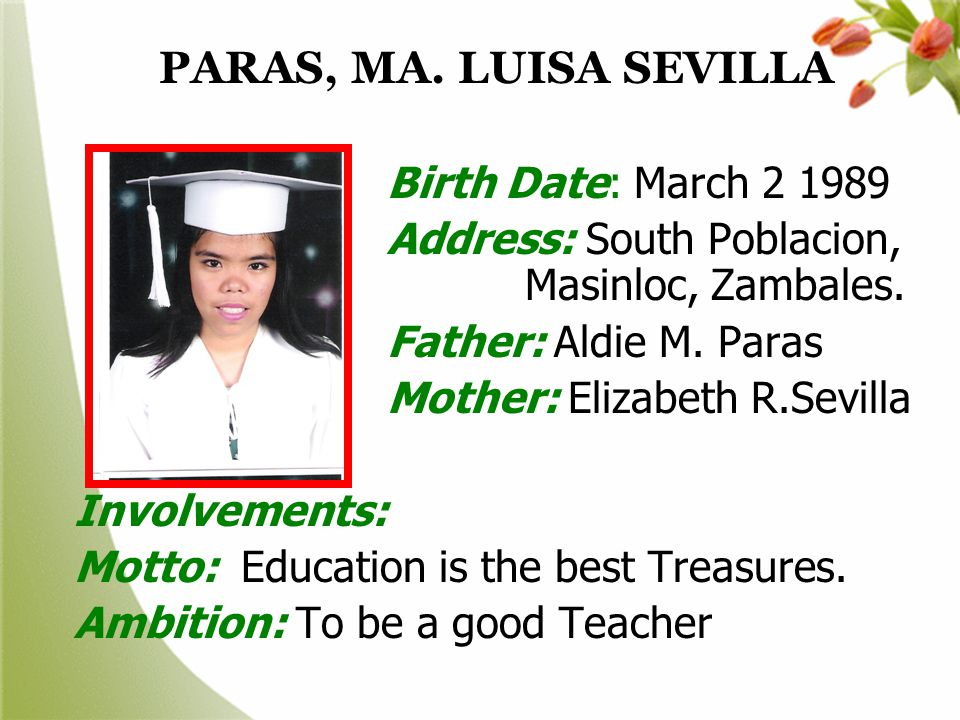 PARAS, MA. LUISA SEVILLA Birth Date: March 2 1989