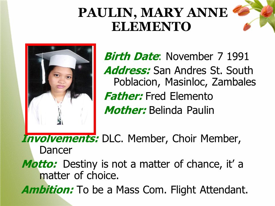 PAULIN, MARY ANNE ELEMENTO
