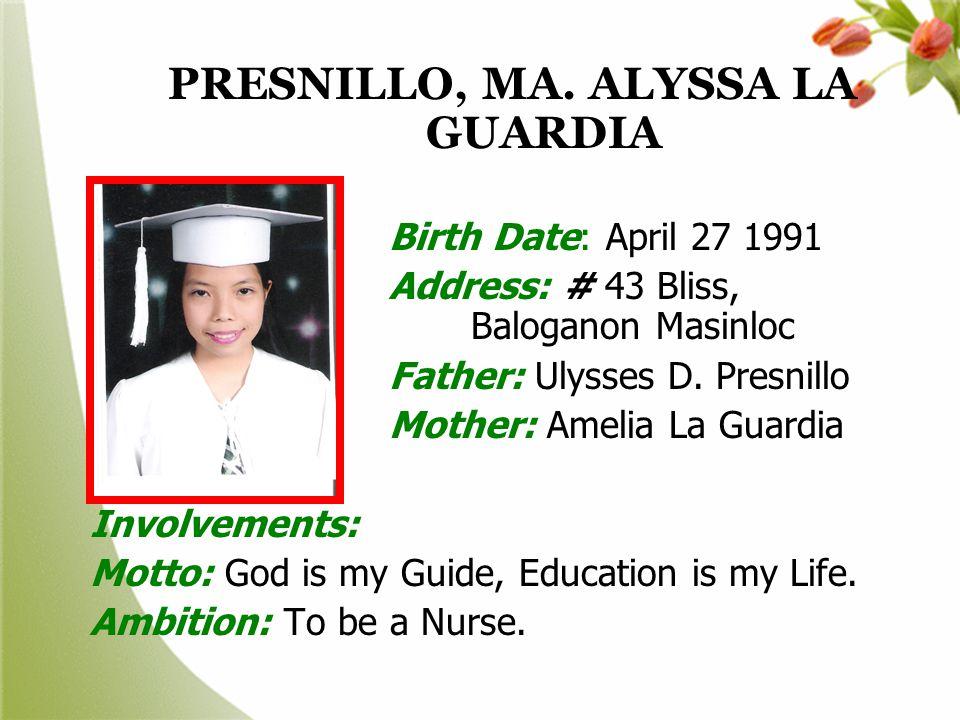 PRESNILLO, MA. ALYSSA LA GUARDIA