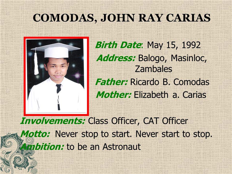 COMODAS, JOHN RAY CARIAS
