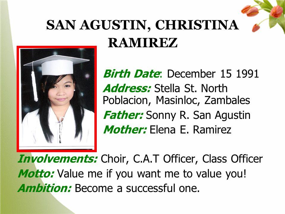 SAN AGUSTIN, CHRISTINA RAMIREZ