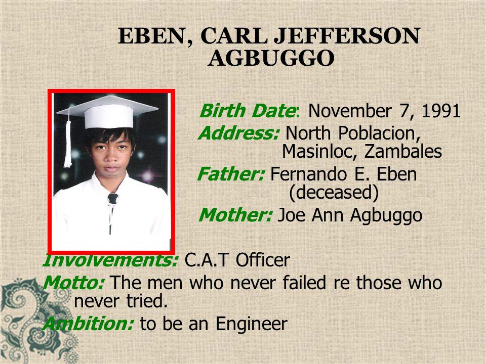 EBEN, CARL JEFFERSON AGBUGGO