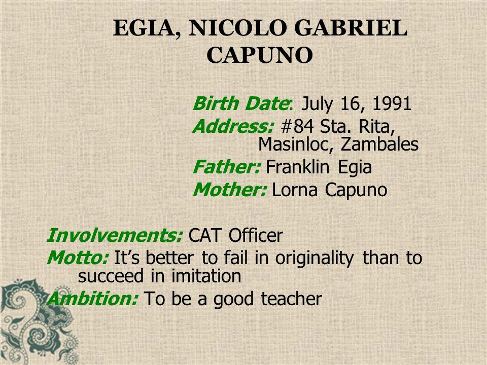 EGIA, NICOLO GABRIEL CAPUNO
