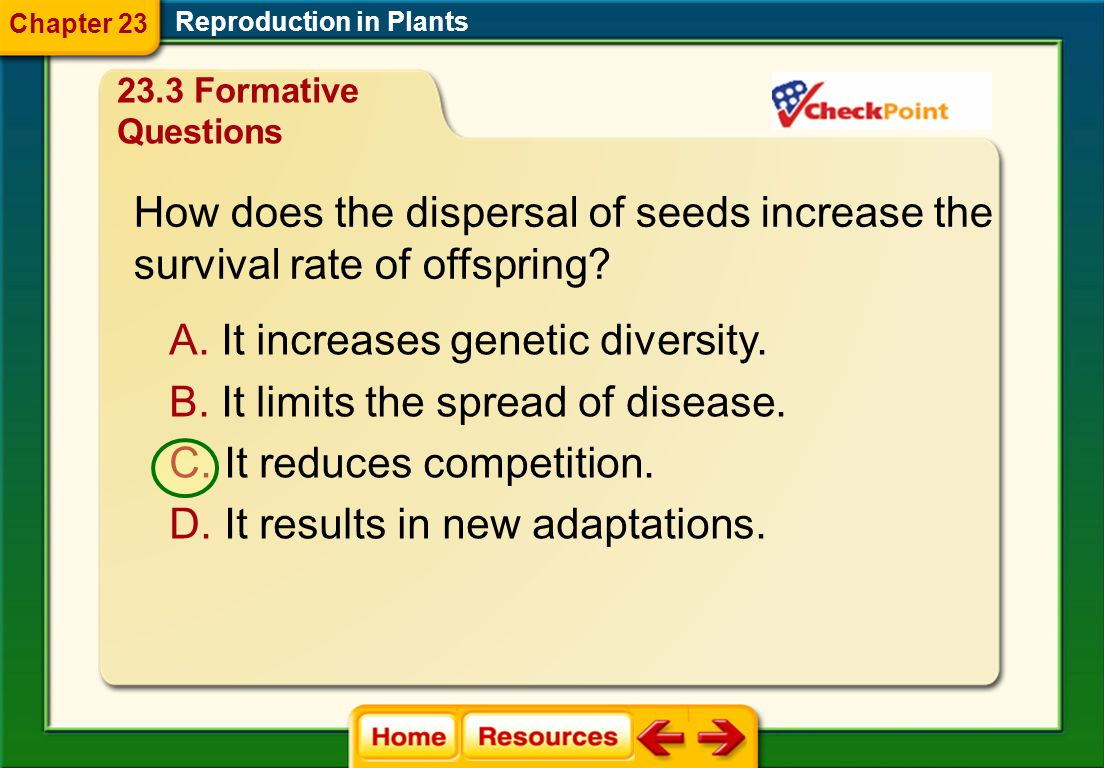 How does the dispersal of seeds increase the