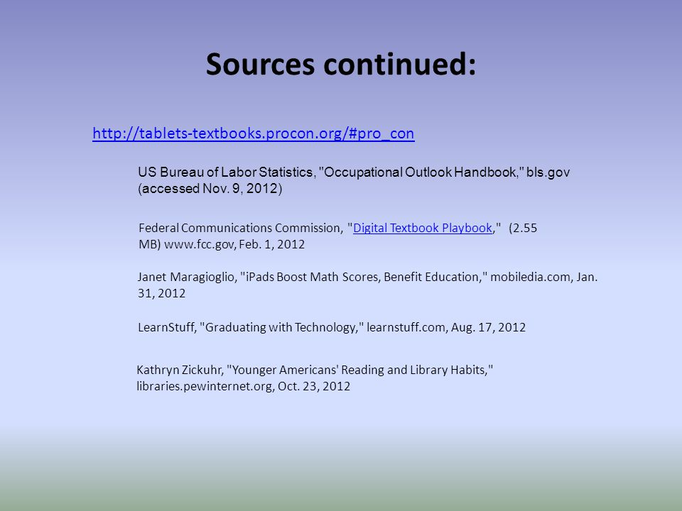 Sources continued: http://tablets-textbooks.procon.org/#pro_con