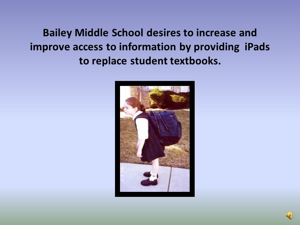 Bailey Middle School desires to increase and improve access to information by providing iPads to replace student textbooks.