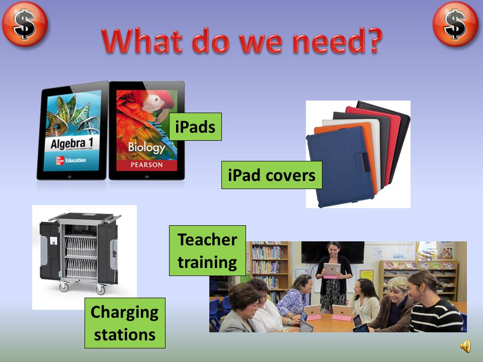What do we need iPads iPad covers Teacher training Charging stations