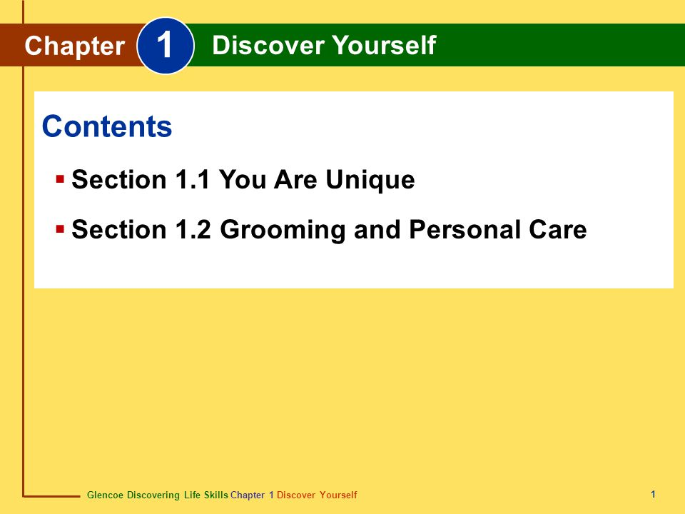 1 Contents Chapter Discover Yourself Section 1.1 You Are Unique