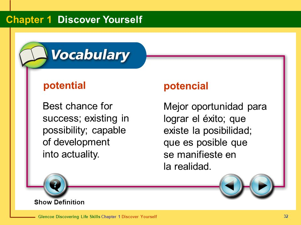 potential potencial. Best chance for success; existing in possibility; capable of development into actuality.