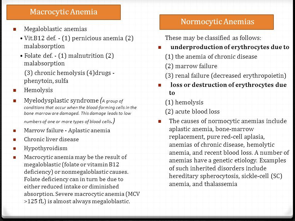 Macrocytic Anemia Normocytic Anemias Megaloblastic anemias