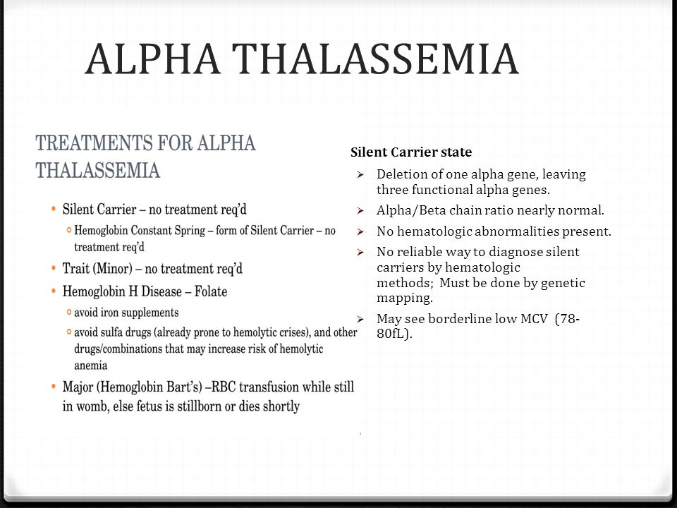 ALPHA THALASSEMIA Silent Carrier state