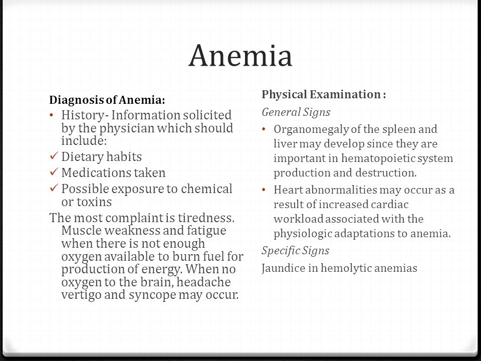 Anemia Physical Examination : General Signs.