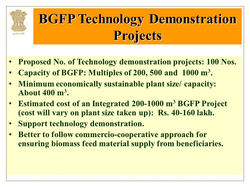 BGFP Technology Demonstration Projects