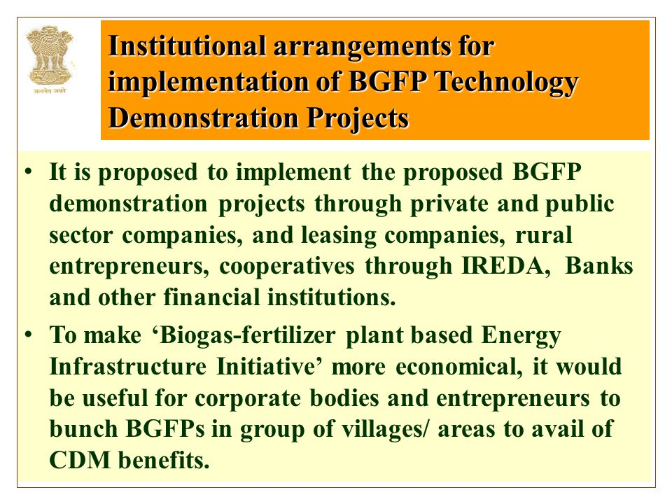Institutional arrangements for implementation of BGFP Technology Demonstration Projects