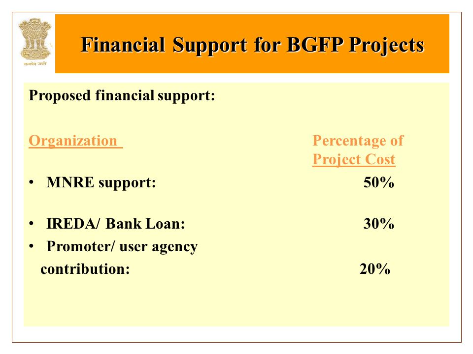 Financial Support for BGFP Projects