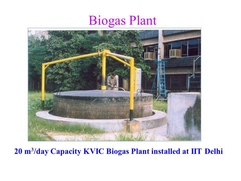 20 m3/day Capacity KVIC Biogas Plant installed at IIT Delhi