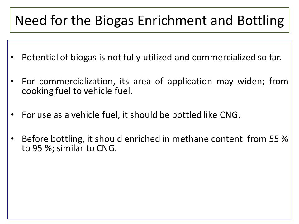 Need for the Biogas Enrichment and Bottling