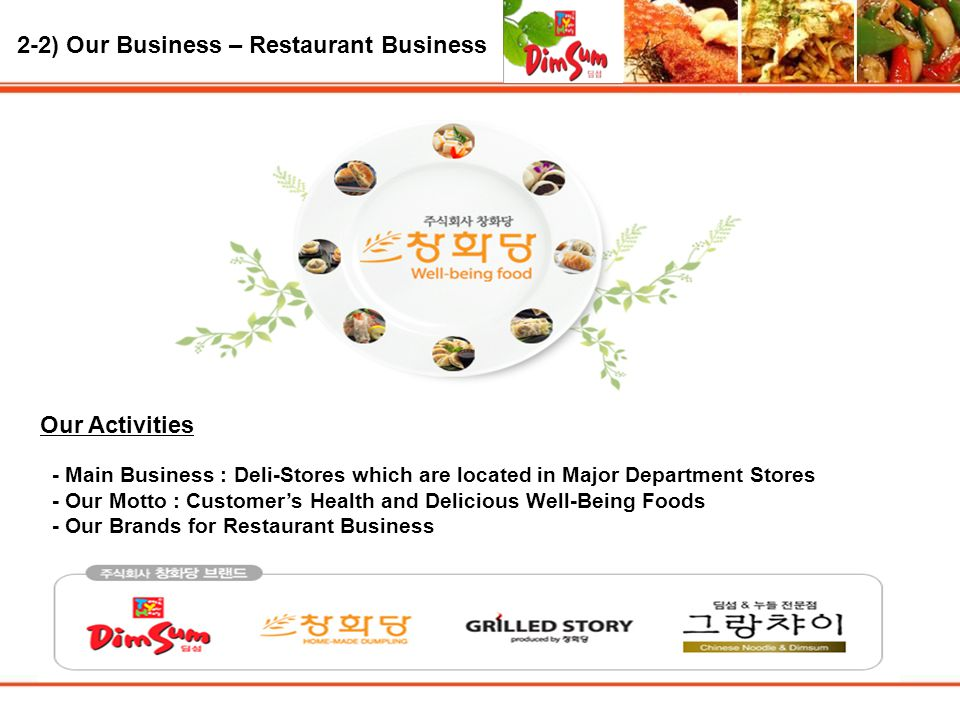 2-2) Our Business – Restaurant Business