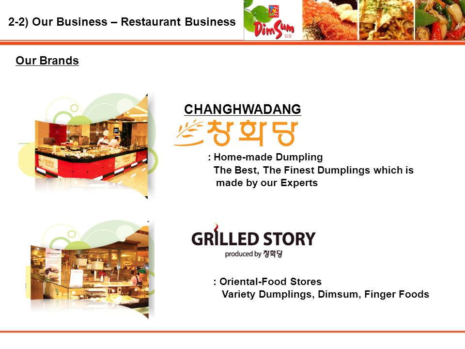 : Home-made Dumpling 2-2) Our Business – Restaurant Business