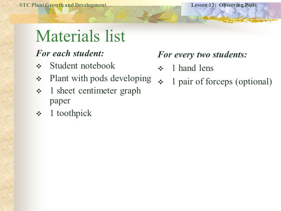 Materials list For each student: Student notebook