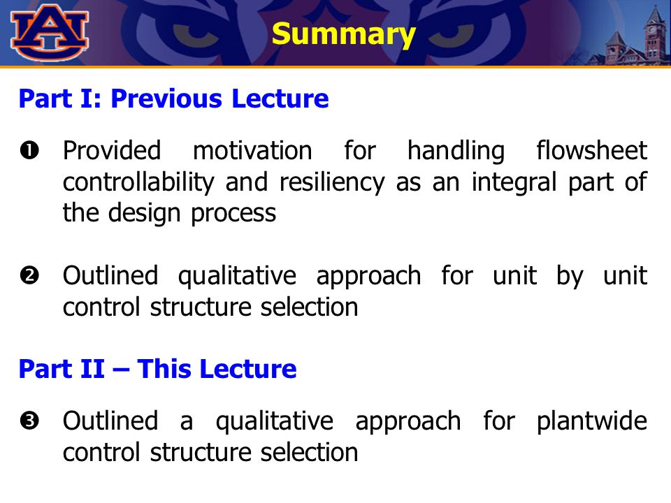 Summary Part I: Previous Lecture