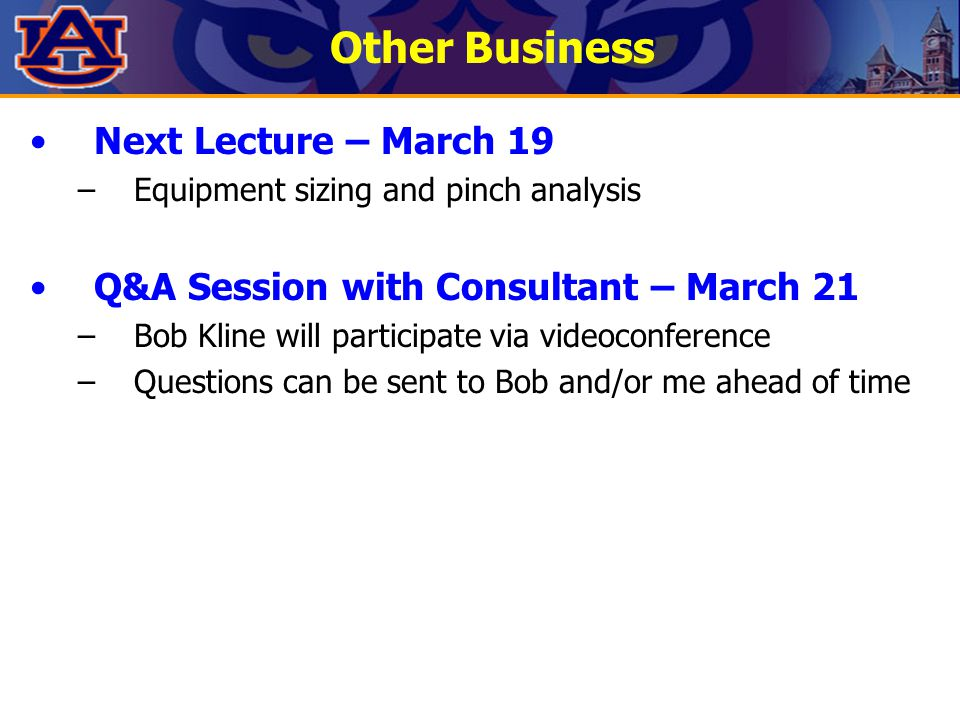Other Business Next Lecture – March 19