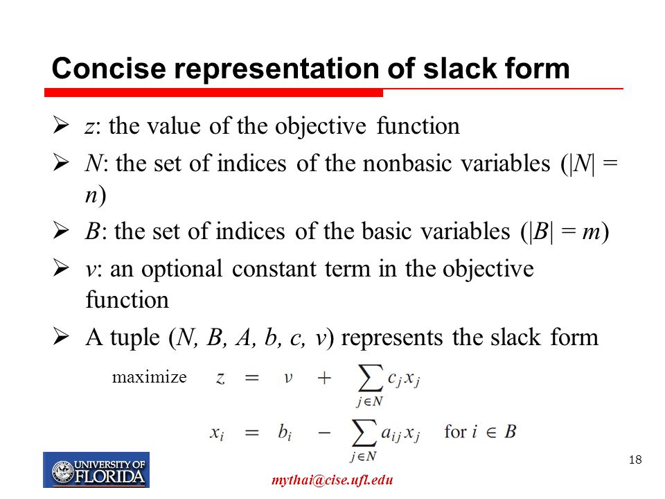 Concise representation of slack form