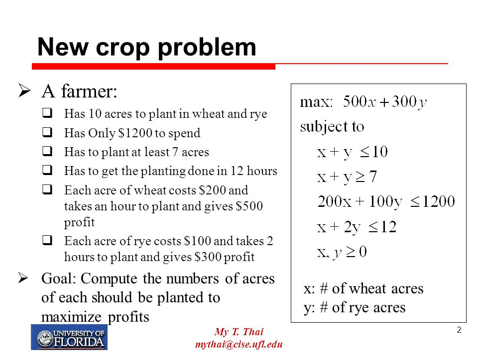 New crop problem A farmer: