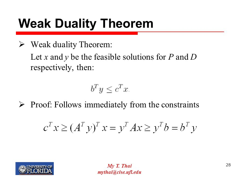 Weak Duality Theorem Weak duality Theorem: