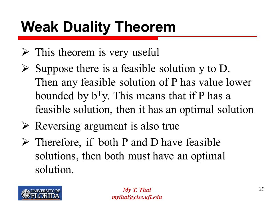 Weak Duality Theorem This theorem is very useful