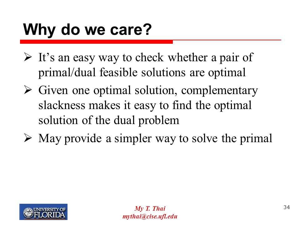 Why do we care It's an easy way to check whether a pair of primal/dual feasible solutions are optimal.
