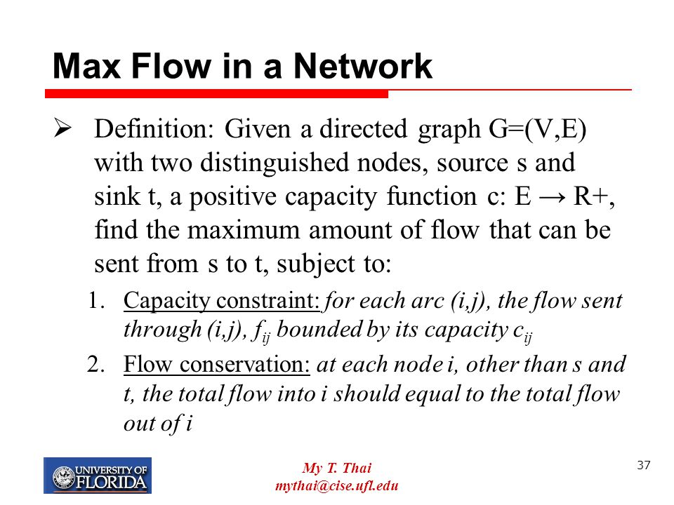 Max Flow in a Network