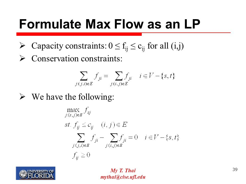 Formulate Max Flow as an LP