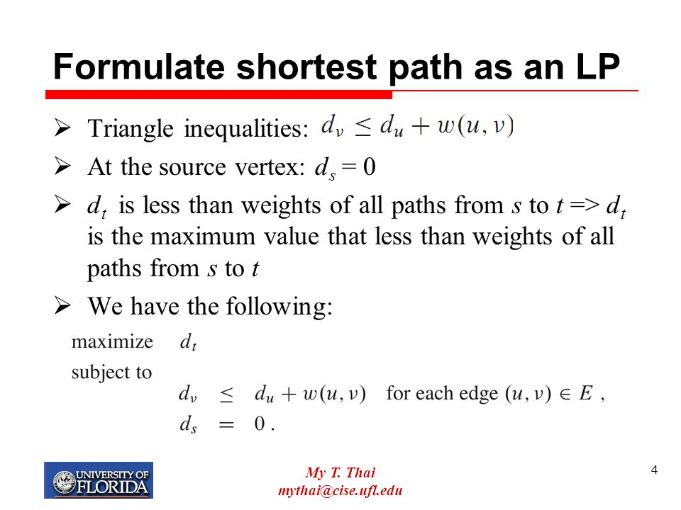 Formulate shortest path as an LP