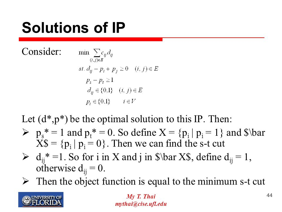 Solutions of IP Consider: