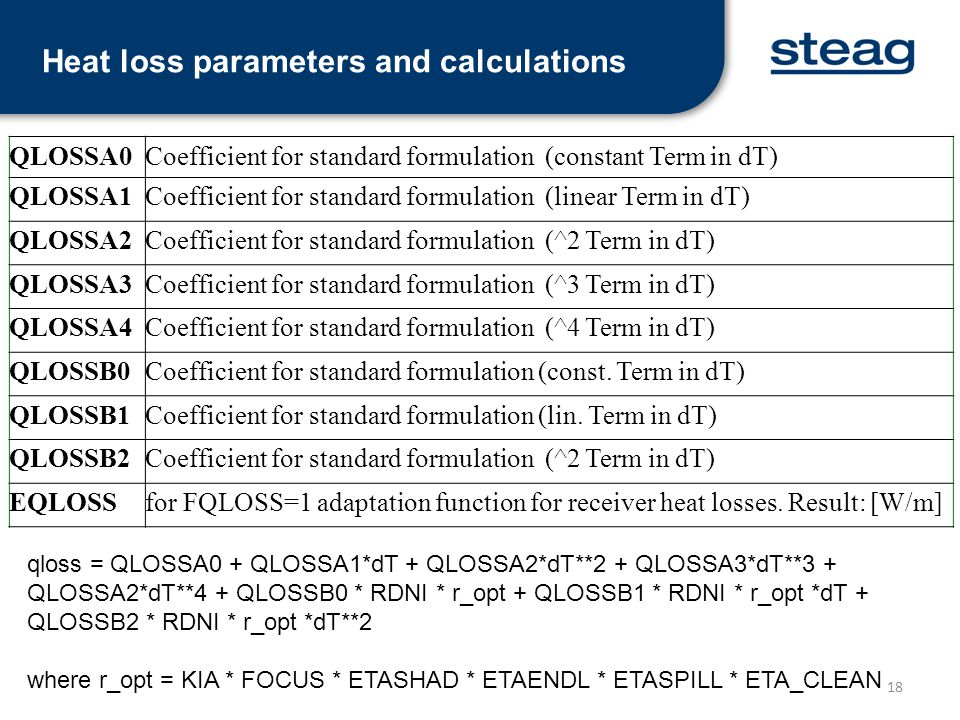 Heat loss parameters and calculations
