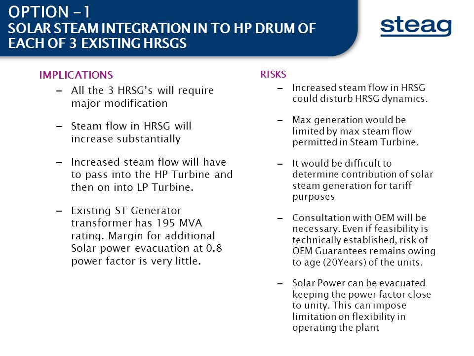 OPTION -1 SOLAR STEAM INTEGRATION IN TO HP DRUM OF EACH OF 3 EXISTING HRSGS. IMPLICATIONS. All the 3 HRSG's will require major modification.
