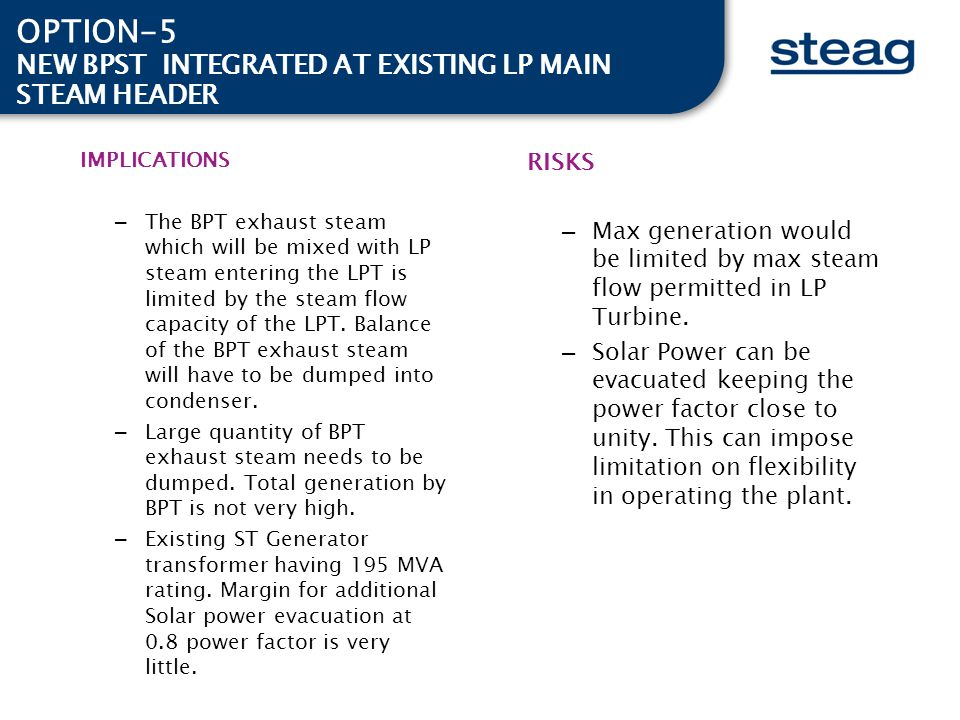 OPTION-5 NEW BPST INTEGRATED AT EXISTING LP MAIN STEAM HEADER RISKS