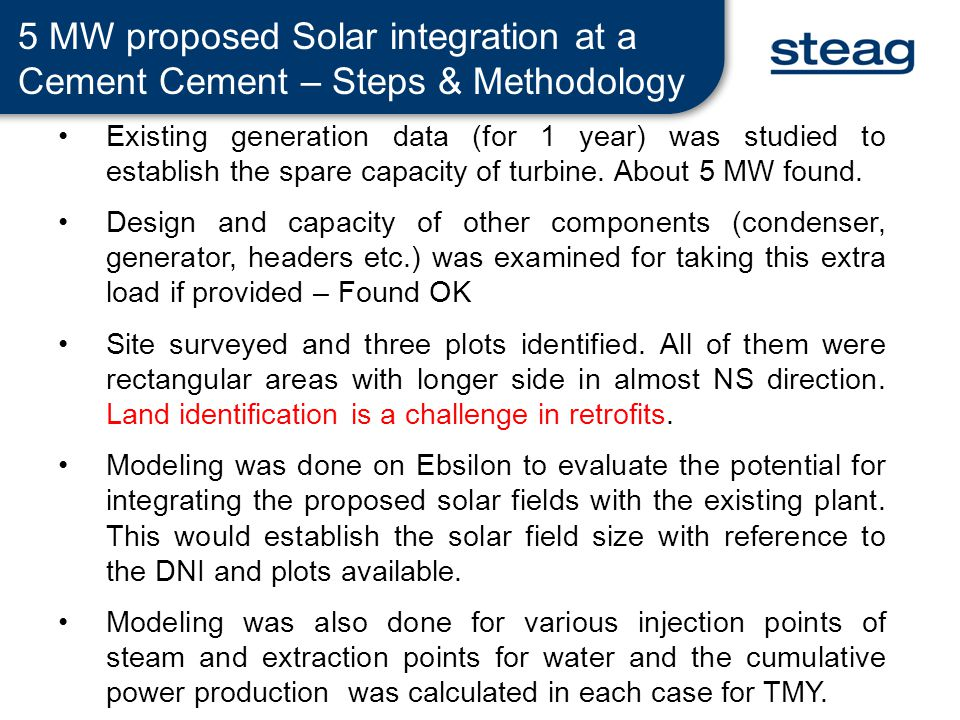 5 MW proposed Solar integration at a Cement Cement – Steps & Methodology