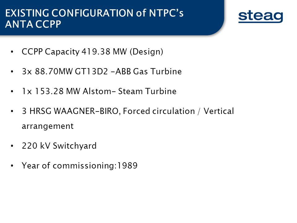 EXISTING CONFIGURATION of NTPC's ANTA CCPP