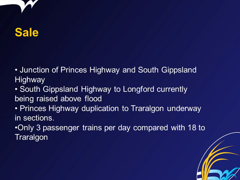 Sale Junction of Princes Highway and South Gippsland Highway